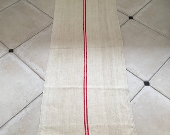 NS1724 Red Natural Limestone Vintage Linen Grainsack Fabric Red Striped Sewing Projects Upholstery Bath Mat or Laundry Bag