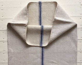Royal Blue Stripe Natural Off White Vintage Linen Grainsack Fabric Striped Sewing Projects Upholstery Bath Mat or Laundry Bag NS2011