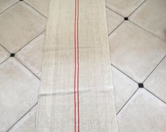 NS1344 Orange Cadmium Stripe Twill Natural Sandstone Vintage Linen Grainsack Striped Sewing Projects Upholstery Bath Mat or Laundry Bag