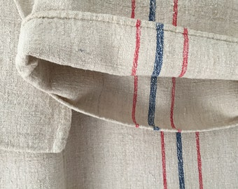 Faded Red and Blue Striped Stone Vintage Linen Grain Sack Sewing Projects Upholstery Cushions Bath Mat NS2126 Washed and ready to Go