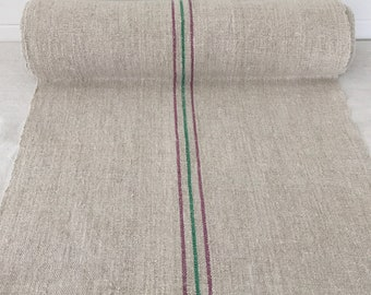 NLR1725 Black and Red Striped Linen for Tables Upholstery Projects Vintage Fabric Handmade Linen - By The Metre