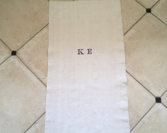 Monogrammed 'KE' Natural Limestone Vintage Linen Grainsack Fabric Striped Sewing Projects Upholstery Bath Mat or Laundry Bag