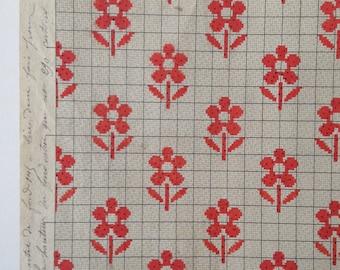 Rare Flowers Red & Beige off white Original 19th Century Handpainted Textile Art Design Monogram Embroidery Design Paper Anniversary Gift
