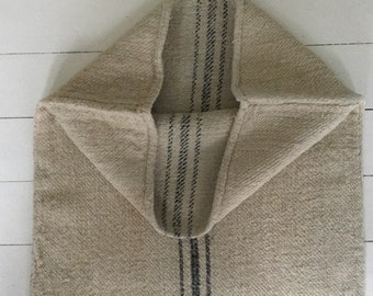 Black Grey Stripe on Sand Stone Natural Vintage Linen Grainsack Sewing Projects Upholstery Bath Mat or Laundry Bag NS2107 Washed ready to Go