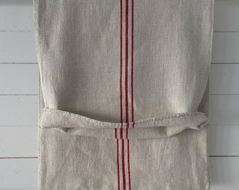 Red Stripe and Stone Vintage Linen Grainsack Sewing Projects Upholstery Bath Mat Cushions Table Runner       NS2140 Washed and ready to Go