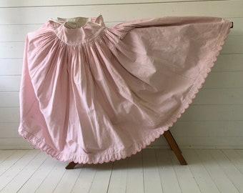 Pink and White Fine Check Brushed Cotton Circle Skirt Vintage Hungarian Folk Hand Sewn Scalloped Hem Summer Festival Dancing SKT2109