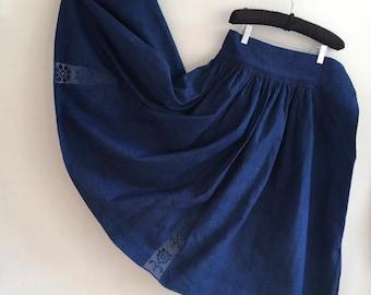 Dark Indigo Blue Circle Skirt Vintage Hungarian Folk Skirt with Drawn Threadwork