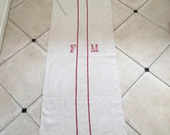 Red Stripe Twill Natural Sandstone Vintage Linen Grainsack Fabric