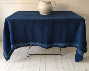 Indigo Dyed Old Rose Design Tablecloth /Sheet Vintage Linen Fabric Handmade Linen Upholstery SewingProjects DTS2004