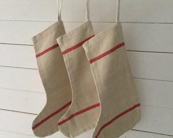 Classic Christmas Stockings Red Stripe Natural Hand Spun Linen CS2001
