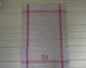 Pink Red Monogrammed Tea Towel 'TJ' Natural Limestone Vintage Linen  Fabric Striped Sewing Projects Upholstery Bath Mat or Laundry Bag