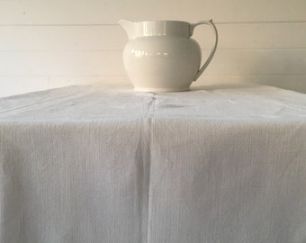 Off White Tablecloth Sheet Fine Hand Spun Linen with Open Thread Work Hems Sewing Projects Blinds Curtains Washed and ready to Go NTS2100