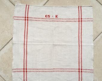 Red Stripe Tea Towel Linen for with 'CSE' Monogram Handmade Linen  NTT2012