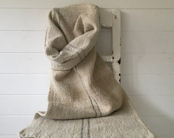 Grey Faded Stripe on Stone Natural Vintage Linen Grainsack Sewing Projects Upholstery Bath Mat or Laundry Bag NS2101 Washed ready to Go