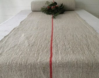 Red Pink Stripe Natural Grey Beige Vintage Linen Per Metre Table Runner Upholstery Projects Upholstery   Washed  NLR2023
