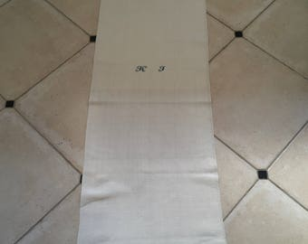 Monogrammed 'KJ' Natural Limestone Vintage Linen Grainsack