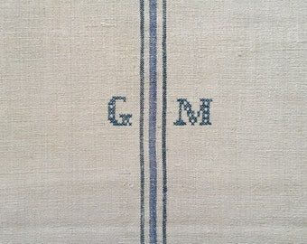 Blue Stripes Monogrammed 'GM' Linen Vintage Grain Sack Off White Upholstery Bench Seat Cushions Bath Mat NS2005  Washed and ready to Go