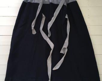Dark Indigo Blue Dutch Linen Apron/ Wrap-around Skirt/ Fisherman Trousers