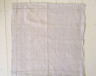NNP2000 Handwoven Plain Textured Hand Spun Linen Napkin Open Threadwork Vintage Fabric Hand Stitched Linen