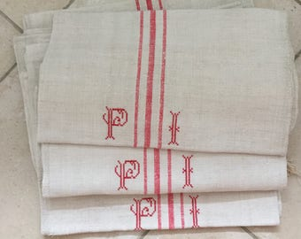 NS1401 Red Monogrammed 'PI' Natural Limestone Vintage Linen Grainsack Fabric Striped Sewing Upholstery
