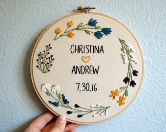 Wedding Embroidery Hoop - Custom with Couple's Names, Newlywed Gift, Wedding Anniversary Gift, Custom Names Sign, Floral Wreath Embroidery
