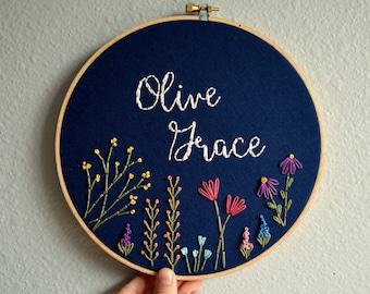 Custom Name Embroidery Hoop, Baby Name Embroidery, Nursery Wall Art, Embroidery Hoop Art, Baby Shower Gift, Wildflower Name Sign