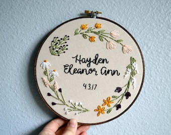 Custom Name Embroidery Hoop, Baby Name Embroidery, Nursery Wall Art, Embroidery Hoop Art, Baby Shower Gift, Wildflower wreath name sign