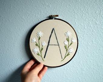 Initial Embroidery Hoop - Nursery Wall Art, Embroidered Hoop Art, Custom Monogram, Minimalist Home Decor, Rustic Sign, Natural Simple Colors