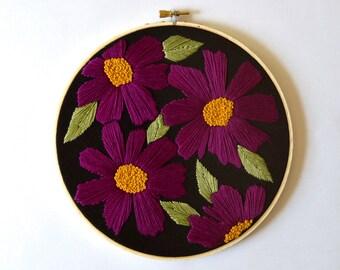 Petal by Petal - original embroidery hoop, modern florals, one of a kind, ooak, hoop art, wall decor