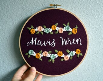 Baby Name Embroidery Hoop Art, Custom Name Sign, New Baby, Choose Colors, Nursery Wall Art, Baby Shower Gift, Floral Needlepoint Sign