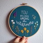 You Belong Among the Wildflowers Embroidery Hoop Art - Wall Hanging - Needlepoint Quote by BreezebotPunch
