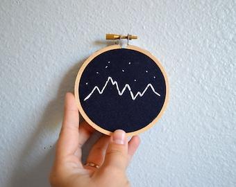 Mountains and Stars Embroidery Hoop Art, Mini Wall Hanging, Handmade Mountain Range, Navy Nursery Decor, Modern Housewarming Gift