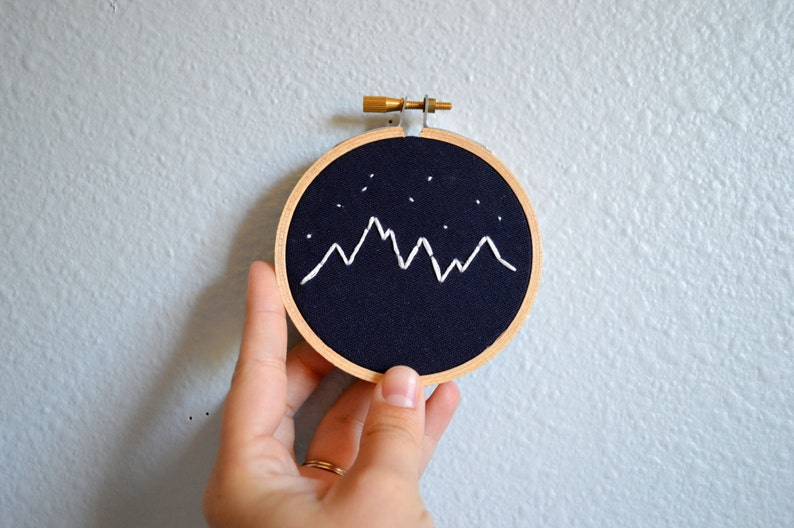 Mountains and Stars Embroidery Hoop Art Mini Wall Hanging image 0