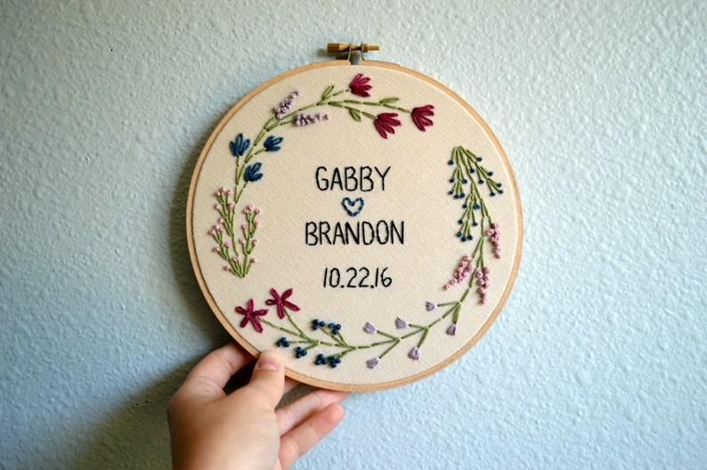Wedding Embroidery Hoop  Custom  Marriage Anniversary image 0