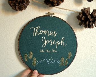 Custom Baby Boy Name Embroidery Hoop, Pine Trees and Mountains, Birth Announcement, Boy Nursery Wall Art, Gender Neutral, Baby Shower Gift