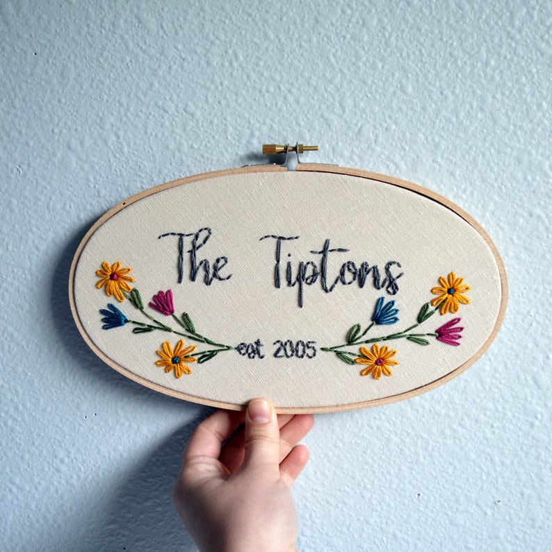 Custom Wedding Embroidery Hoop Anniversary Gift Wildflowers image 0