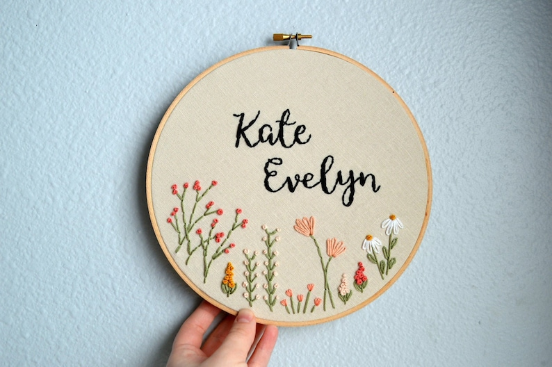 Custom Name Embroidery Hoop Baby Name Embroidery Nursery image 0