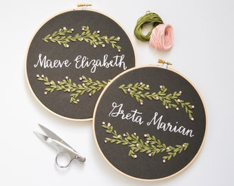 Custom Name Embroidery Hoop, Botanical Art, Baby Name Wall Hanging, Leaves & Vines Plant Art, Nature Inspired, Modern Home Decor