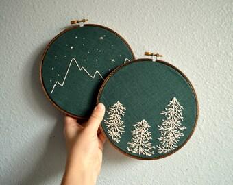 Mountain Range & Pine Trees Embroidery Hoop, Embroidery Hoop Art, Outdoor Art, Nature Inspired, Nursery Decor, Modern Housewarming Gift