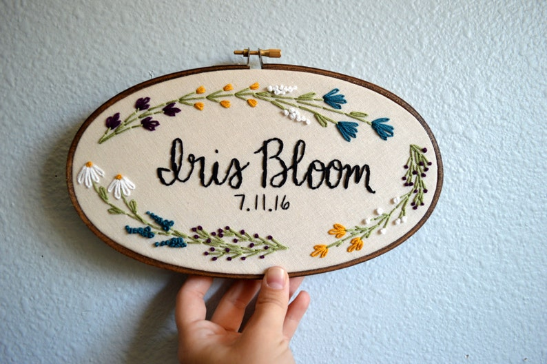 Custom Name Embroidery Hoop Baby Name Embroidery Floral image 0