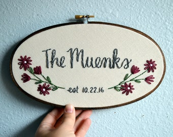 Family Name Embroidery Hoop, Custom Sign, Flowers Anniversary, Linen Anniversary by BreezebotPunch, Gallery Wall, Wedding Gift, Home Decor