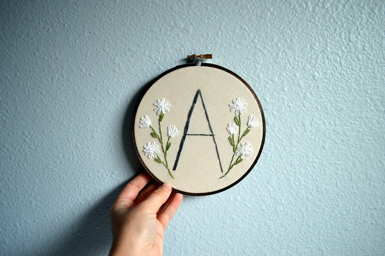 Initial Embroidery Hoop  Nursery Wall Art Embroidered Hoop image 0