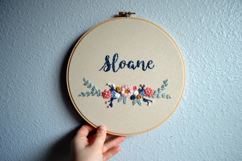 Floral Baby Name Art Embroidery Hoop Custom Name Sign image 0