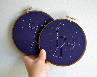 Custom Constellation Embroidery Hoop Art - Choose your own constellation