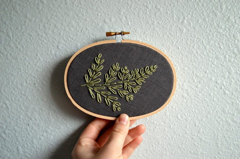 Fern Embroidery Hoop Art Botanical Wall Art Plant Wall image 0