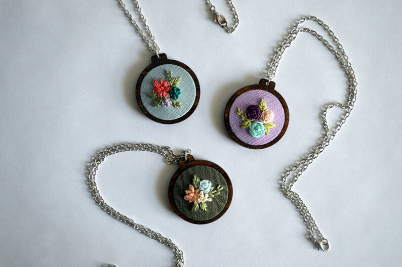 Wildflower Embroidery Necklace  Hoop Art Jewelry  Custom image 0