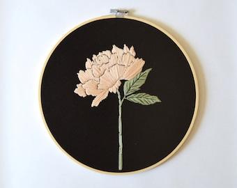 Peony #2 - Embroidery Hoop, Handstitched wildflower, Minimal Wall Art, Home decor, moody artwork, one of a kind, ooak, handmade