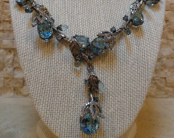 Beautiful Swiss Blue Topaz and White CZ necklace in Oxidized Sterling Silver, 18 inches long