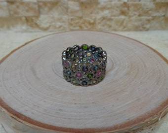 Songea Sapphire ring band in Oxidized Sterling Silver size 7