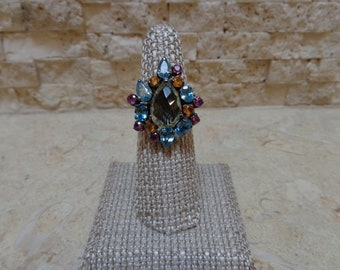 Pink and Golden Songea Sapphire, Blue Zircon and Faceted Green Amethyst ring in Oxidized Sterling Silver size 7